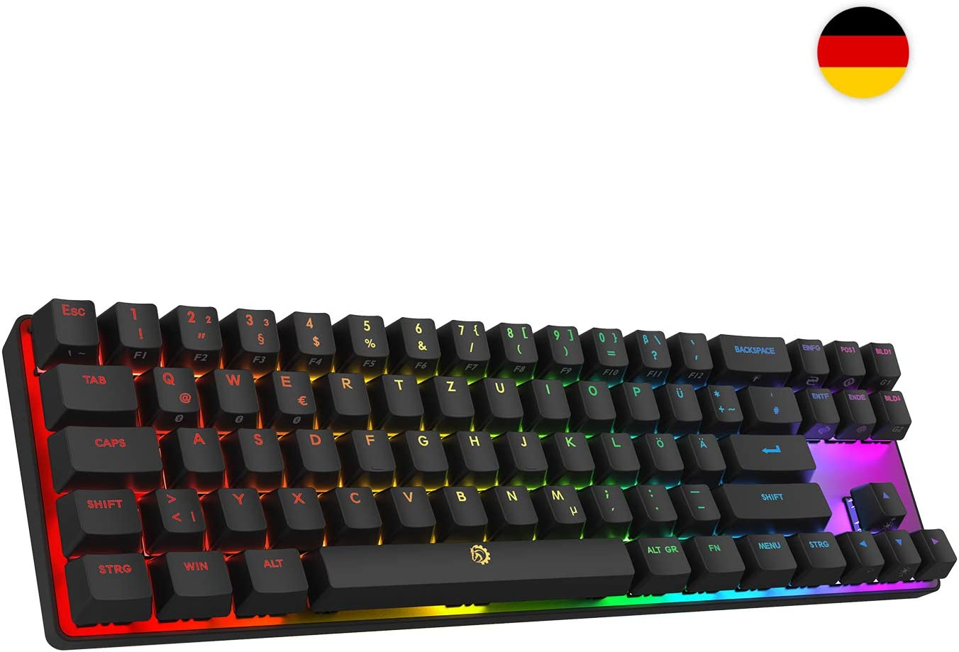 DREVO Calibur 72 clave de juego mecánico teclado RGB LED retroiluminada Tenkeyless inalámbrico Bluetooth 4.0 - deutsche layout (Switch Rojo, Negro)