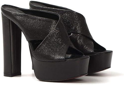 FRANCO COLLI - Platform Slippers IN Leather Leather Leather - FC1038NAPPA KRAKLE& 039; schwarz  erstklassige Qualität