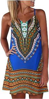 Bohemian Loose Sleeveless Shirt Dress Bohemian Sleeveless Cross Back Loose Cami Dress Women's Mini Dress with Thin Straps