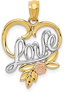 14k Yellow Rose Love In Heart Pendant Charm Necklace S/love Message Fine Jewelry Gifts For Women For Her