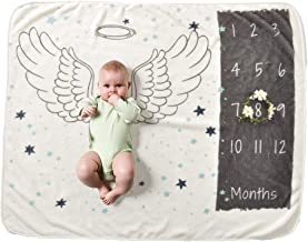 Decdeal Baby Monthly Milestone Blanket For Girl Boy Floral Wings Frame Newborn Photo Prop Background Super Soft Flannel 28...