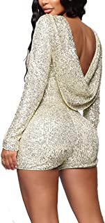 IyMoo Sexy Sequin Rompers for Women Backless Long Sleeve Party Club Bodycon Jumpsuits Playsuits