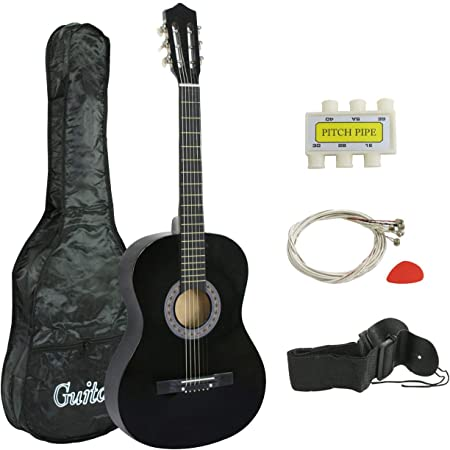 "Smartxchoices 6 String 38"" Acoustic Guitar Bundle with Gig Bag Strap Pitch Pipe Extra Strings Set Pick for Beginners Starter Kids Girls Youths Students Right-handed (Black)"