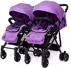 WU ZHI Plegable Twin Silla de Paseo Gemelar, Ligera,Cochecito de Bebe Gemelar Purple