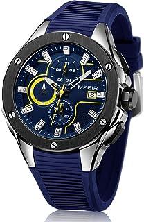 MEGIR Men's Chronograph Sport Watch Fashion Luminous Quartz Square Waterproof Wristwatches with Leather Strap for Business...