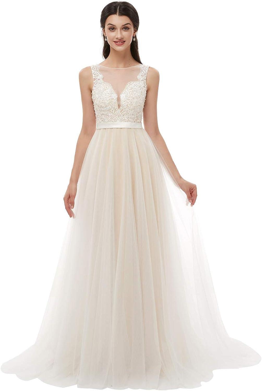 Leyidress Women's VNeck ALine Ivory Lace Tulle Beach Wedding Dress Plus Size Bridal Gown
