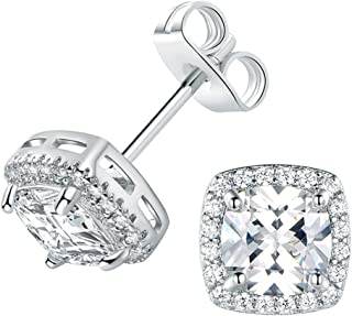 VOLUKA Cubic Zirconia Stud Earrings 6mm Square 18K White Gold Plated for Women Teen Girls Jewelry