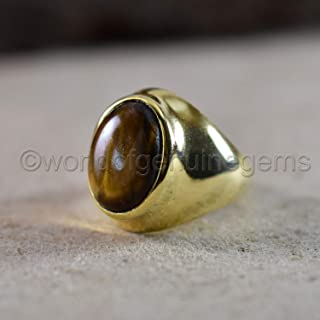 925 sterling silver, vermeil men's wedding ring, huge tiger eye ring, yellow gold ring, designer ring, natural tiger eye jewelry, tiger eye engagement ring