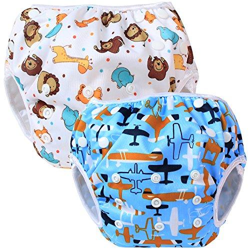 Teamoy Couches de bain lavables pour Bébé (2 Paquets) Pantalon de Couche en Tissu pour Garçons et Filles, Avion + Sourire