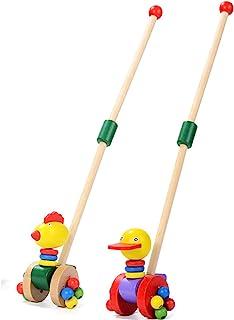 Child Walker, 2-In-1 Use As Push Along Toy, Animal Trolley for 1-3 Year Old, Wooden Walker Kid/Easy Walker Children
