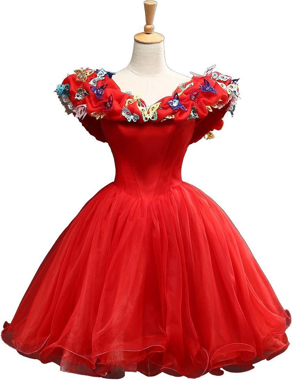Engerla Women's Organza Cosplay Laceup Princess Quinceanera Dress