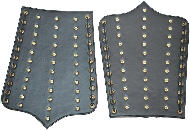 Nasir Ali Medieval Leather Leg Guard Set Reenactment 3 Line Brass Beads Design