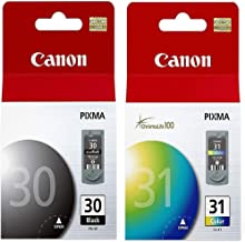 Pack Canon PG-30 Black and CL-31 Color Printer Ink Cartridges PG30 CL31 for Canon Pixma iP1800...