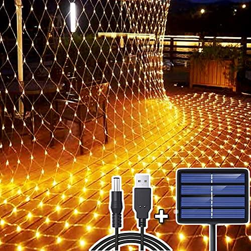 204 LED Lichternetz, 3M x 2M Lichterkette Netzlicht Solar/USB-Betrieben, Wasserdichte Mesh Lichtervorhang, Christbaum Lichterkette für Weihnachten Party Garten Indoor Draussen Dekorationen - Warmweiß