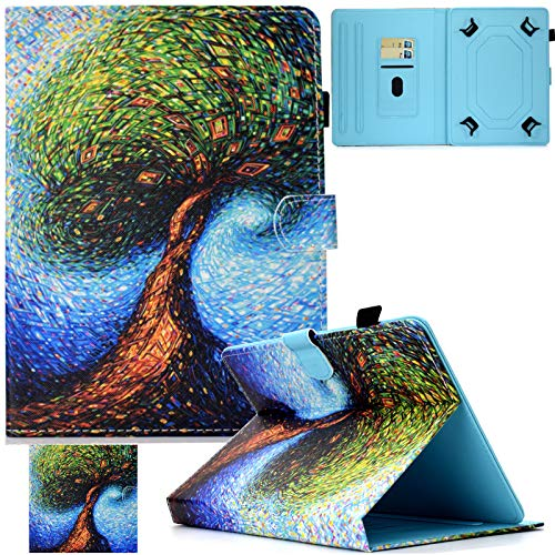 Universal Case for 9.5'-10.5' Tablet, Artyond PU Leather Cover Slim Fit Folio Cards Slots Case for All Fire HD 10, iPad 9.7 and More 9.6' 9.7' 10.1' 10.5' Android iOS Tablet (Magic Tree)