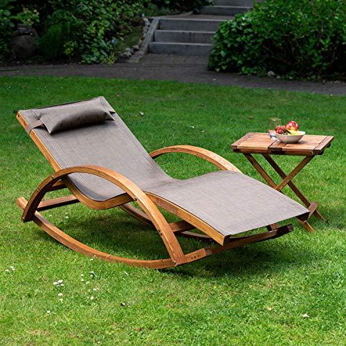 Ampel 24 Relax Schaukelstuhl Rio, Relaxliege mit Armlehnen, Gartenmöbel aus vorbehandeltem Holz, Stuhl Bespannung braun, wetterfeste Gartenliege - 6