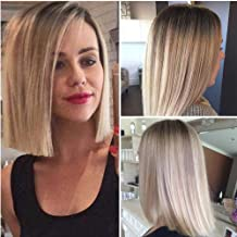 Lady Miranda 14 Inches Straight Hair Bob Wig Ombre Brown to Ash Blonde Color Middle Part Synthetic Full Wigs for Women (Brown&Ash blonde)