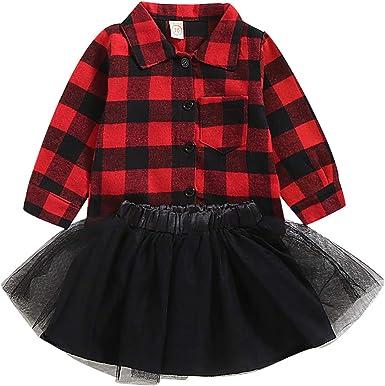 puseky 2 Piezas niños bebé niña Camisa a Cuadros roja + Falda ...