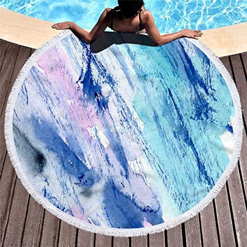 IAMZHL Mármol Toalla de Playa Redonda Grande para Adultos Colorido Patrón de Arenas movedizas Microfibra Ducha Toalla de baño Manta de Viaje Cubierta de natación-a8-Diameter 150cm