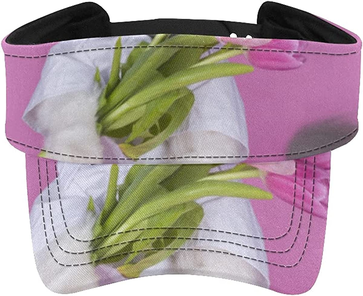 Sun Visor Hat Cat Super intense SALE Bouquet 5% OFF Pink for Women Tulips Adjustab Cap