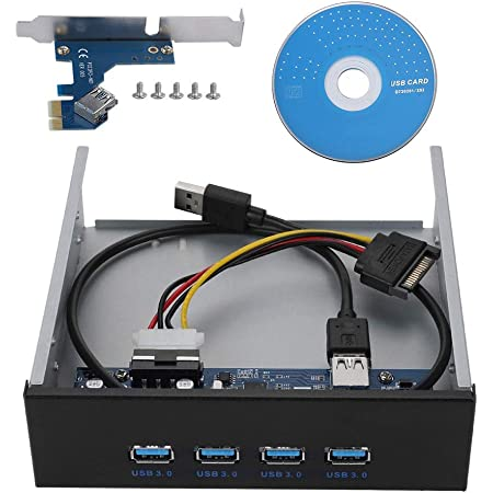 ASHATA Driver per CD-Rom USB 3.0 da Pannello Frontale da 5,25 Pollici a 4 Porte Hub da PCI-E a 4 interfacce Pannello Frontale Metallico USB3.0