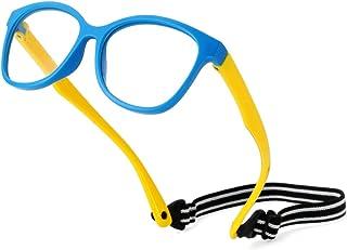 Kids Blue Light Blocking Glasses TPEE Rubber Flexible Frame With Glasses Rope, for Children Age 3-12