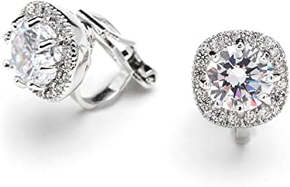 Cubic Zirconia CZ Clip On Stud Earrings - 10mm Cushion Shape Pave Halo Nonpieced Round Solitaires