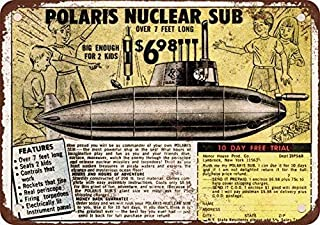1972 Polaris Nuclear Sub Toy Vintage Look Reproduction Metal Tin Sign 8X12 inches