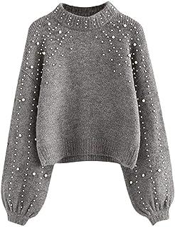 Suéter casual para mujer con perla para mujer, con aguja gruesa, manga larga, cuello en O, jersey