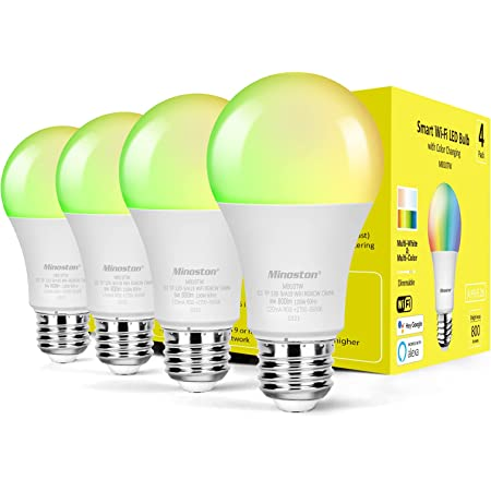 Smart Light Bulb, Alexa WiFi LED Light Bulb, A19 RGBCW Color Changing, 2700K-6500K Multi-White Dimmable, Works with Alexa and Google Assistant, 2.4GHz WiFi, 800LM, 9W, E26, No Hub Required(MB10TW)