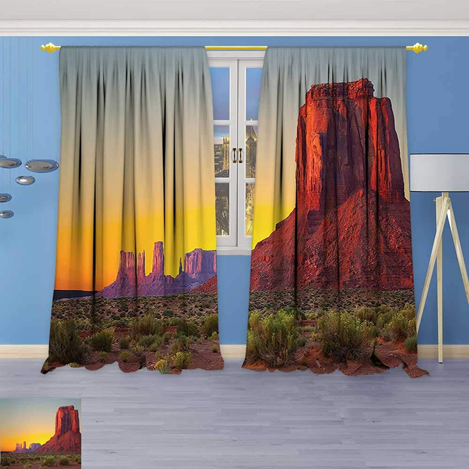 Design Print Thermal Insulated Blackout Curtain Sunset in Famous Grand Canyon Archaic Natural Wonders of World Heritage Photo Red for Living Room