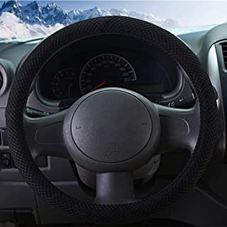 ZHOL Universal 15 inch Steering Wheel Cover, Breathable, Anti-Slip, Odorless, Warm in Winter and Cool in Summer, Black