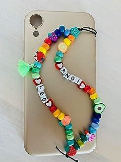 Phone strap charm perline di alta qualità europee modello Leo personalizzato con nome. Porta cellulare da polso e gioiello...