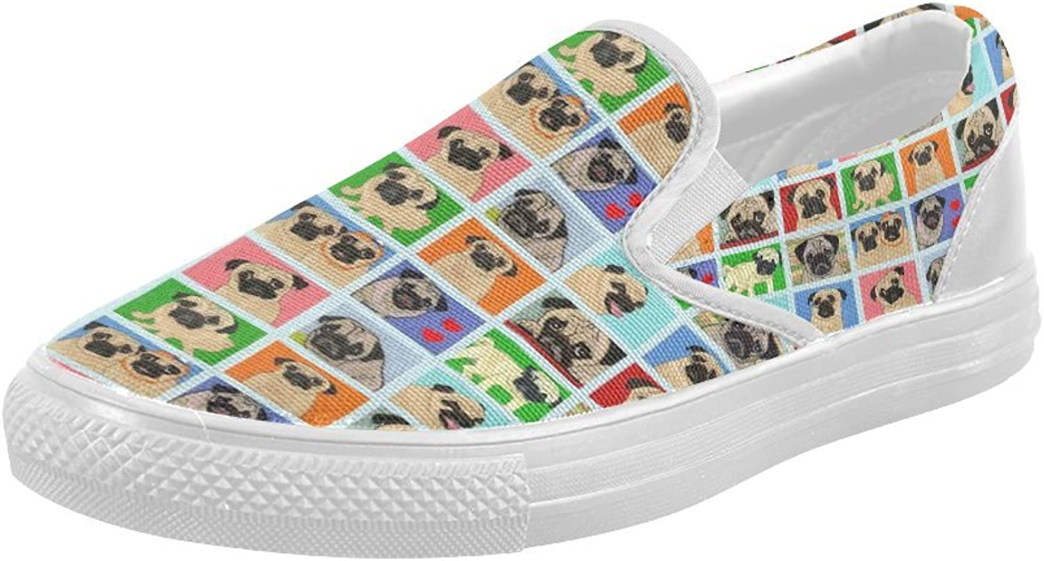 HUANGDAISY shoes Cartoon Pugs Background Slip-on Canvas Loafer for Women