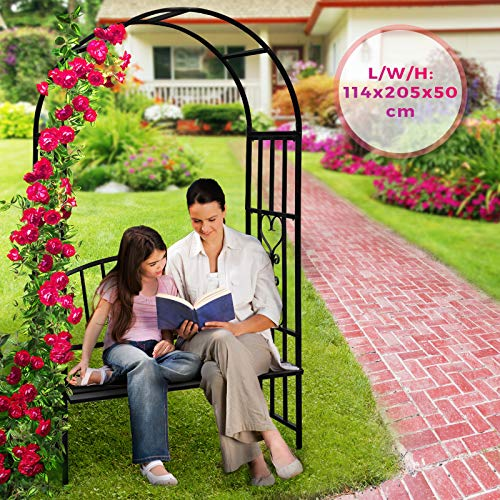 Rozenboog met zitbank - in zwart, van metaal, 114/205/50 cm - rozenspalier, klimhulp, torboog, tuinbogen, ronde boog, klimplanten, tuinbank met pergola