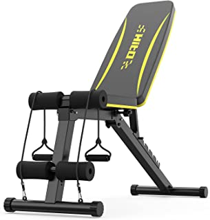 نیمکت وزنی قابل تنظیم برای تمرین تمام بدن ، پرس نیمکت تمرین تاشو با بندهای مقاومتی برای بدنسازی خانگی
