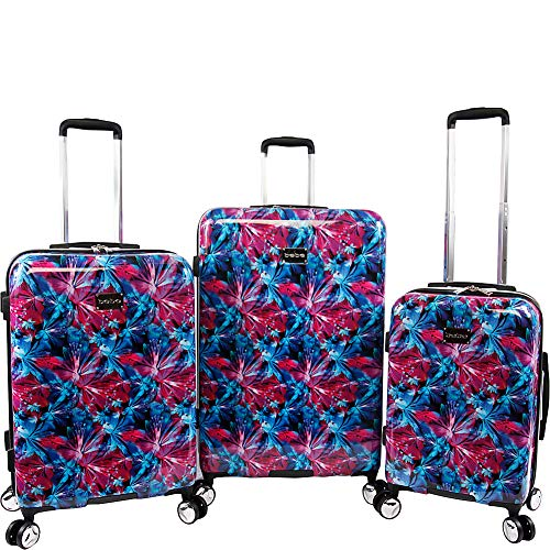 BEBE Women's Tina 3pc Spinner Suitcase Set, Blue Pink Lily, One Size