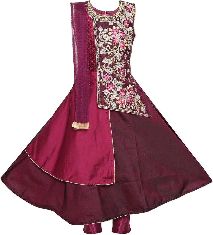 Ashwini Girls Polyester Embroidery Maroon Salwar Suit