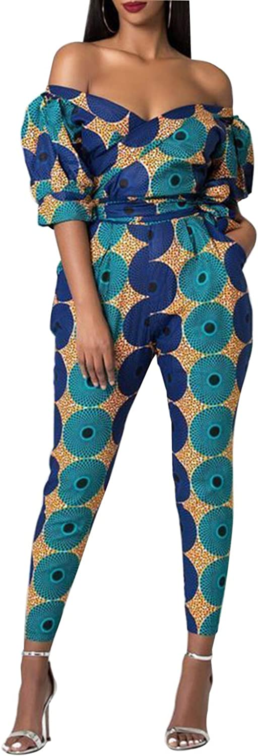 Funcok Women Off Recommended Shoulder V Neck Pocke One Challenge the lowest price Printed African Piece