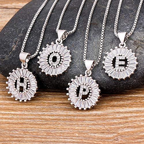 JIUXIAO Color Dorado/Plateado Zirconia cúbica AZ 26 Letras Colgante Collar con Inicial Nombre de Moda Collar joyería Regalo para Mujeres