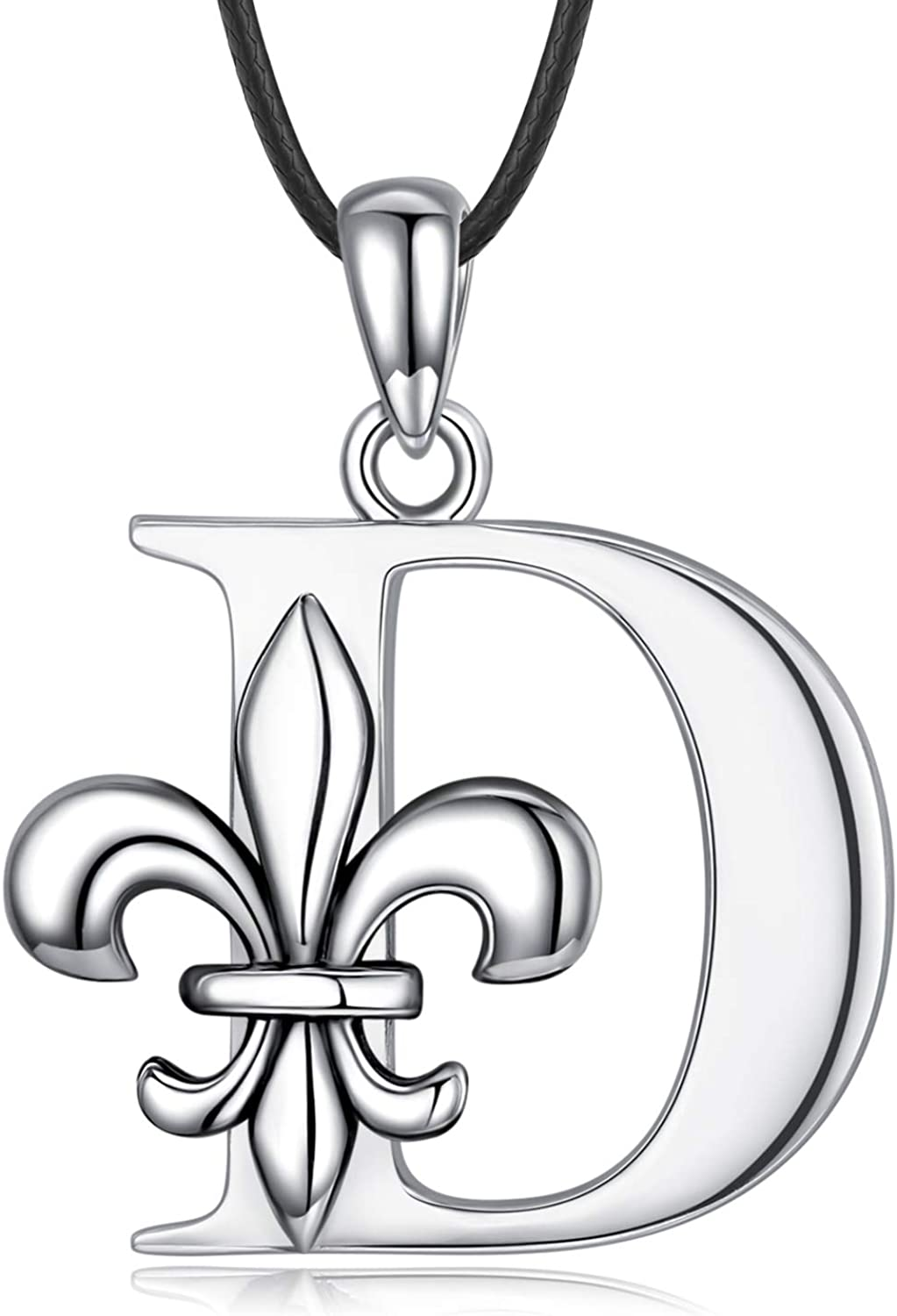 Outstanding Sterling Max 88% OFF Silver Initial Necklace Dainty Fleur Necklaces 2 de Lis