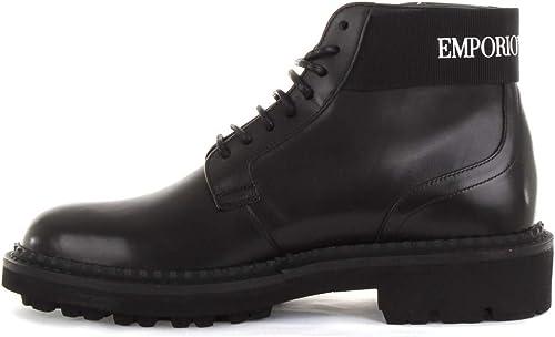 Emporio armani scarpa uomo stivaletti in pelle con gambale logato X4M328-XM071-D267