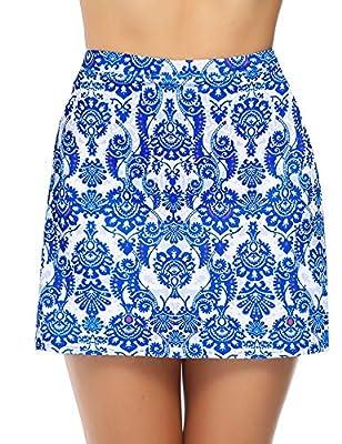iClosam Women Skort Active Performance Lightweight Skirt for Running Tennis Golf Workout Sports (Blue Pattern, Large)