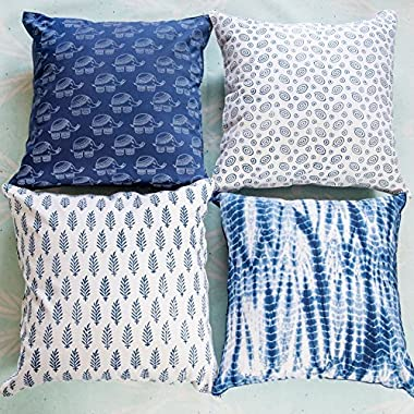 Decorative Bed Throw Pillow Covers for Couch Modern Quality Sofa Cushion Cover Set of 4 Bohemian Geometric Design 18x18 Designer Elephant Tie Dye Cotton Pillow Cases for Bedroom, Indigo Blue Theme Set