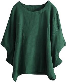 Feiscat レディース トップス 無地 Tシャツ ルーズ カジュアル おしゃれ ブラウス 大きいサイズ 半袖 個性 ゆったり 大きめ 韓国風