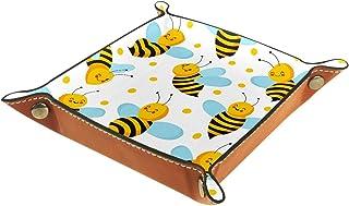 ATOMO Plateau de rangement en cuir - Motif abeille - Pour ranger des bijoux, des pièces de monnaie, des objets divers, des...