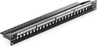 deleyCON 24 Port Panneau de Brassage Modulaire pour Les Modules Keystone 1U (1HE) 19 Pouces Le Montage en Rack Compatible ...