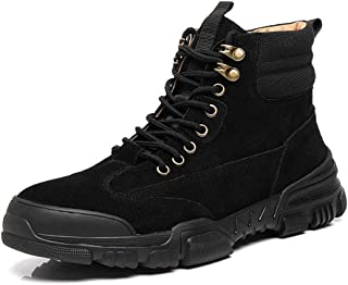 Xujw-shoes store, 2019 Mens New Lace-up Flats Mens Fashion Classic Ankle Boots for Men Work Boot Lace up Leather Wear Resistant Contrast Collar Collision Avoidance Toe Patchwork Comfortable