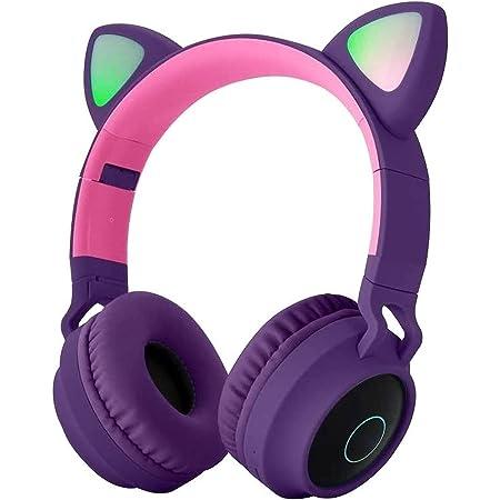 Hanylish Auriculares para Niños Inalámbricos Bluetooth 5.0 con Luz LED, Excelente Sonido, Plegables, Entrada 3.5mm, Carga Rápida, Compatibilidad Universal, Micrófono, Botones Multifunción, Radio FM (Morado)