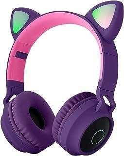 Hanylish Audífonos Gamer Bluetooth Inalámbricos 5.0 con Luz LED, Oreja de Gato, para Niñas Chicas Mujeres, Excelente Sonido, Entrada 3.5mm, Regalos para Mujeres, Plegables, Micrófono, Botones Multifunción, Radio FM (Morado)